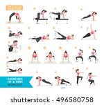 woman workout fitness  aerobic... | Shutterstock .eps vector #496580758