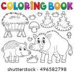 coloring book with wild pigs... | Shutterstock .eps vector #496582798