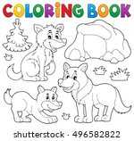 coloring book with wolves theme ... | Shutterstock .eps vector #496582822