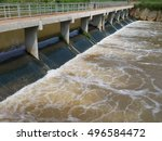 Weir overflow water in Thailand.