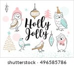 hand drawn christmas card with... | Shutterstock .eps vector #496585786