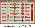 vintage cigar band set. design... | Shutterstock .eps vector #496586158