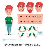 Boy character for your scenes.Parts of body template for design work and animation.   Funny cartoon.Vector illustration isolated on white background. Set for character speaks animations.Hipster beard | Shutterstock vector #496591162