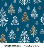 seamless pattern with christmas ... | Shutterstock .eps vector #496593472
