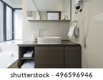 a hotel bathroom with blind ... | Shutterstock . vector #496596946