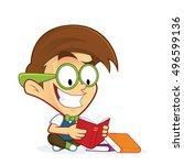 nerd geek reading book   Shutterstock .eps vector #496599136