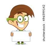 nerd geek holding sign | Shutterstock .eps vector #496599142