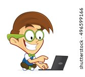 nerd geek with his laptop | Shutterstock .eps vector #496599166