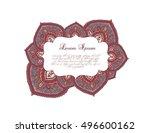 indian border   oriental frame... | Shutterstock .eps vector #496600162