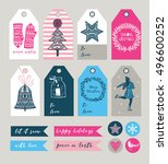 christmas gift tags and labels... | Shutterstock .eps vector #496600252