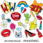 patch badges with lips  hearts  ... | Shutterstock .eps vector #496600882