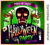 halloween party design template ... | Shutterstock .eps vector #496601452