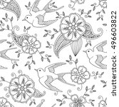 Seamless Pattern With Swallow...