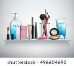 makeup cosmetics accessories... | Shutterstock .eps vector #496604692