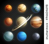 Planets realistic transparent set with Solar System planets isolated vector illustration