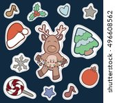 christmas patch badges with... | Shutterstock .eps vector #496608562