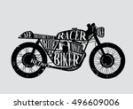 vintage motorcycle cafe racer... | Shutterstock .eps vector #496609006