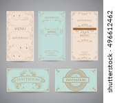 set of vintage luxury greeting...   Shutterstock .eps vector #496612462