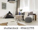 light livng room with bean bag  ... | Shutterstock . vector #496612795