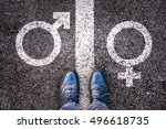 legs with gender symbol on... | Shutterstock . vector #496618735