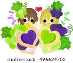 a cute illustration of twin... | Shutterstock .eps vector #496624702