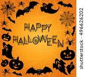 halloween background. halloween ... | Shutterstock .eps vector #496626202