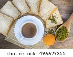 top view breakfast is served... | Shutterstock . vector #496629355
