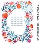 watercolor cute ornate flowers...   Shutterstock . vector #496629652