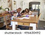 parents helping children with... | Shutterstock . vector #496630492