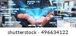 businessman using modern mobile ... | Shutterstock . vector #496634122