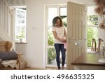 woman returning home and... | Shutterstock . vector #496635325