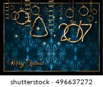 2017 happy new year background... | Shutterstock . vector #496637272