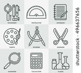school stationery icon set.... | Shutterstock .eps vector #496637656
