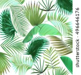 mix palm leaf tree background | Shutterstock . vector #496646176