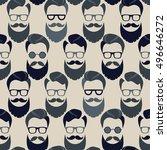 bearded hipster seamless...   Shutterstock .eps vector #496646272
