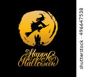 witch vector illustration with... | Shutterstock .eps vector #496647538