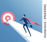 super businessman running... | Shutterstock .eps vector #496650082