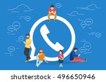 symbol of mobile messenger... | Shutterstock .eps vector #496650946