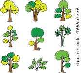 doodle of tree set different... | Shutterstock .eps vector #496652776