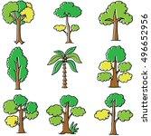 doodle of tree object set... | Shutterstock .eps vector #496652956
