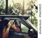 guy taking photos road trip... | Shutterstock . vector #496653025