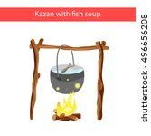 cauldron with fish soup over... | Shutterstock .eps vector #496656208