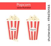 popcorn. vector paper bag with... | Shutterstock .eps vector #496656466