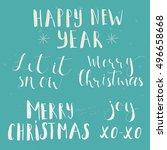 phrase marry christmas  happy...   Shutterstock .eps vector #496658668