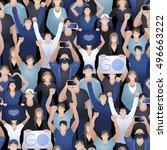 crowd of cheering fans. cyber... | Shutterstock .eps vector #496663222