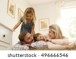 happy family with two child... | Shutterstock . vector #496666546