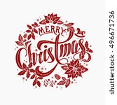 merry christmas calligraphic... | Shutterstock .eps vector #496671736