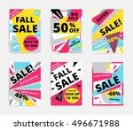 flat design sale set website... | Shutterstock .eps vector #496671988