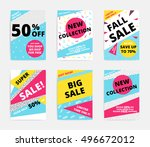 flat design sale set website... | Shutterstock .eps vector #496672012