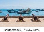 embankment with guns in... | Shutterstock . vector #496676398